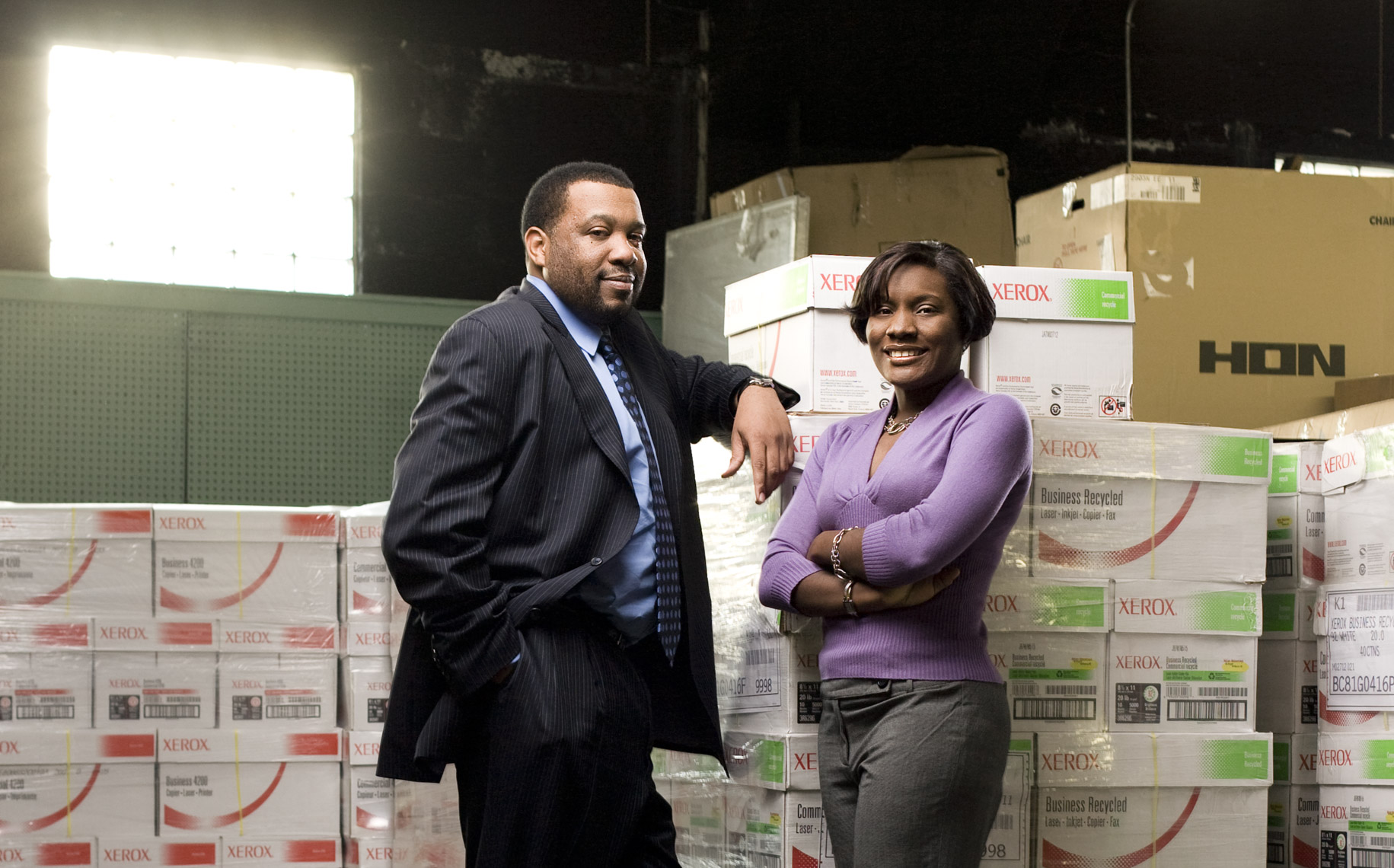 Portrait of a male and female African American small business owners.