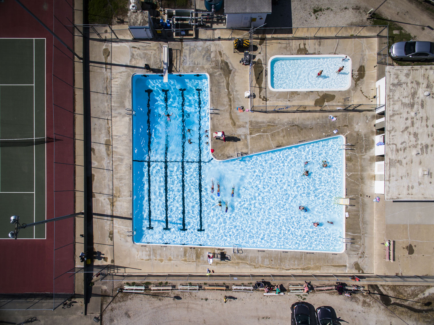 Aerial view of a community pool in Iowa.