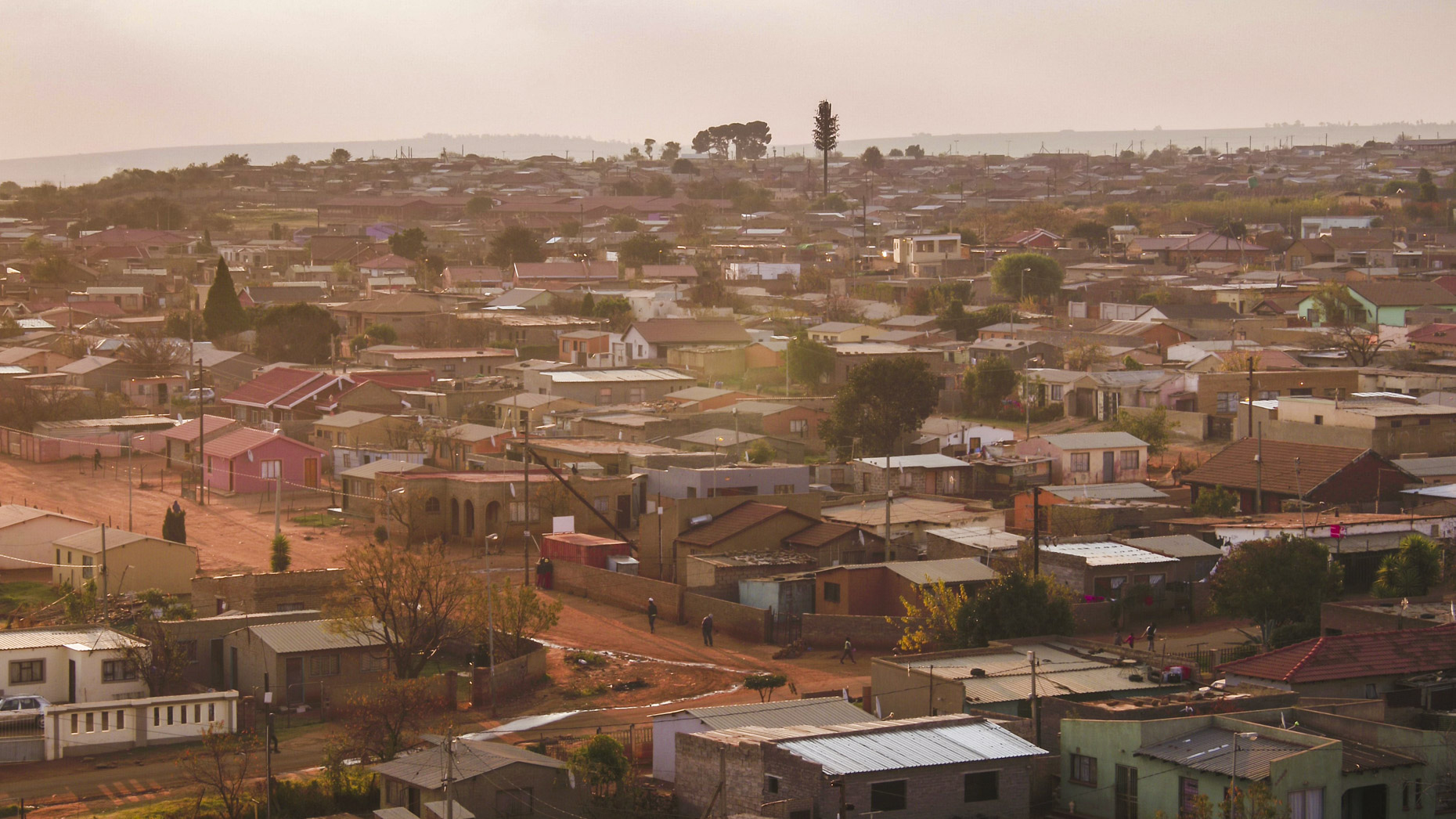 An aerial view of a township in Johanesburg, South Africa