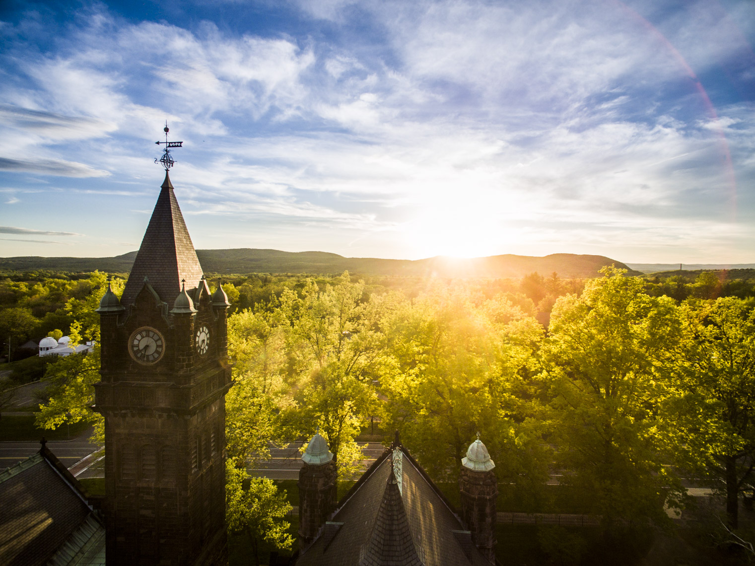 Sunset over the campus of Mount Holyoke College in Massachusetts
