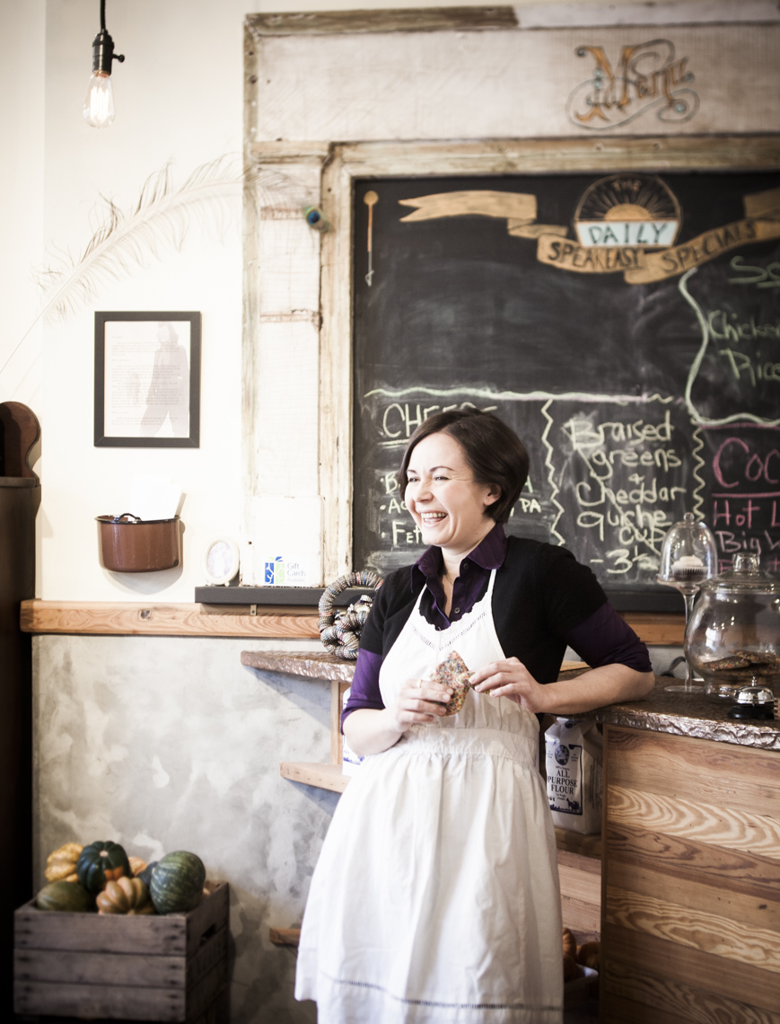 Portrait of female business owner in her bakery in Philadelphia