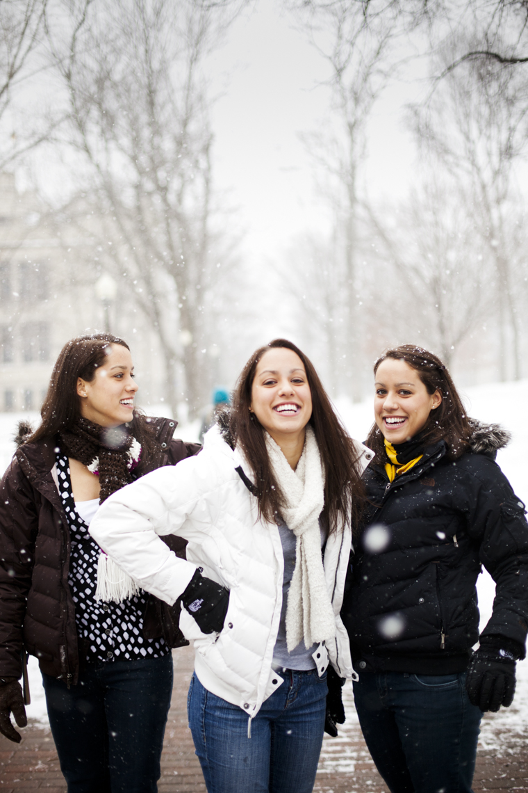 Photo of campus life and students at higher education university or college.