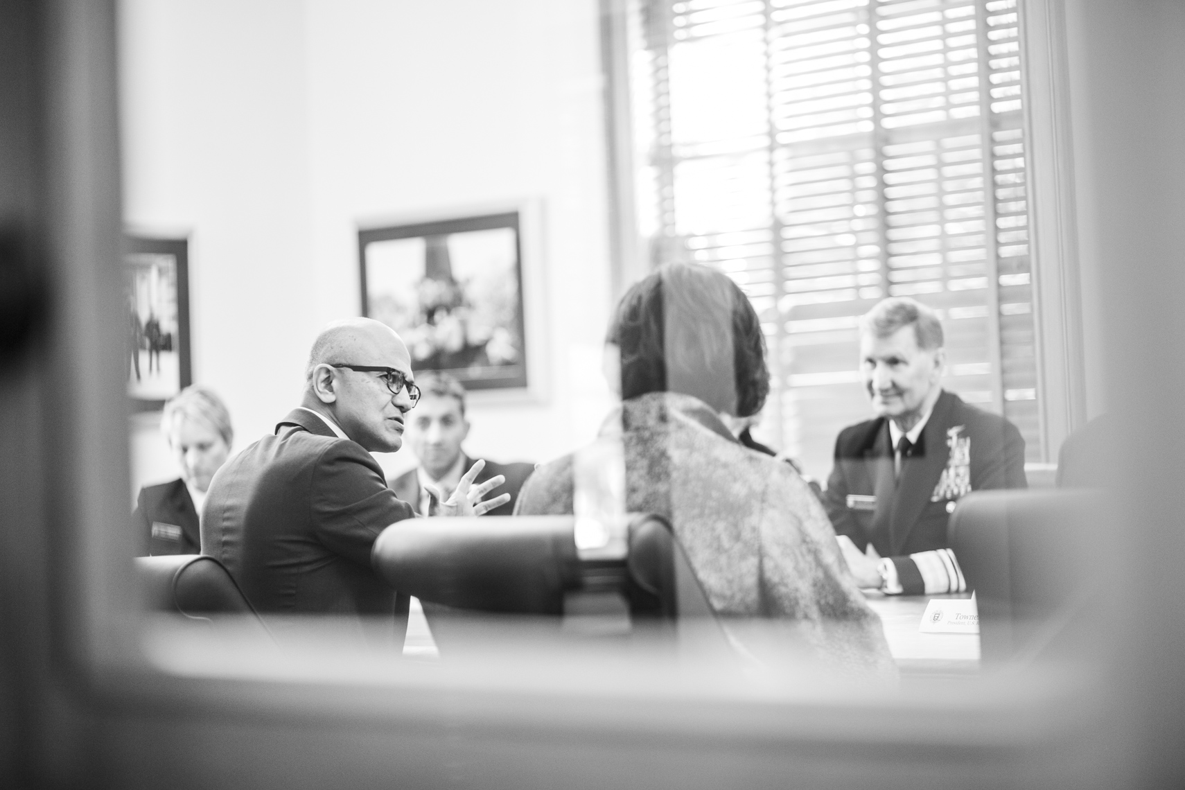 Microsoft CEO Satya Nadella in a meeting in Annapolis Maryland.
