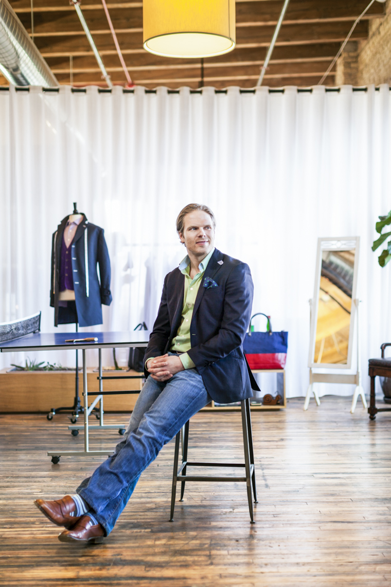 A portrait of Brian Spaly CEO of menswear company Trunk Club in Chicago